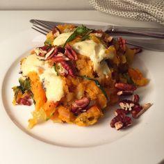 andijviestamppot met zoete aardappel, roquefort en pecannoten