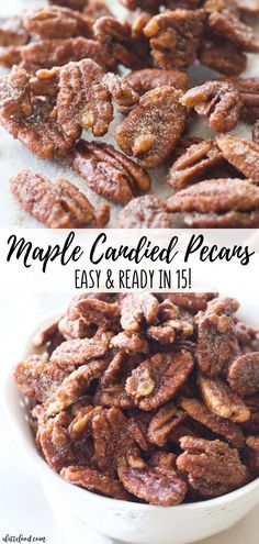 My Note: No EGG WHITES! These easy maple candied pecans are made with maple syrup, brown sugar, white sugar, and cinnamon! Plus, these homemade cinnamon sugared nuts are ready in less than 15 minutes. Homemade candied pecans for the fall dessert win. Maple Syrup Recipes, Walnut Recipes, Pecan Recipes, Fall Recipes, Cooking Recipes, Maple Syrup Candy Recipe, Homemade Maple Syrup, Maple Sugar Candy Recipe, Maple Dessert Recipes