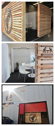 We needed a mobile meeting room in our studioand at the same time a surface where to put our logo, and an element to close visually but no totally, allowing people pass trough freely. We'vedone it with recycled pallets!