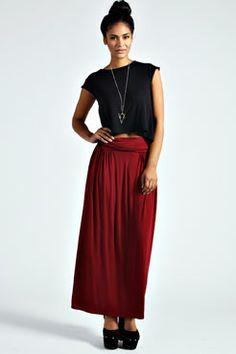 Fiona Fold Over Waist Jersey Maxi Skirt at boohoo.com $16 and free shipping whoop whopp! Finally found my red skirt!