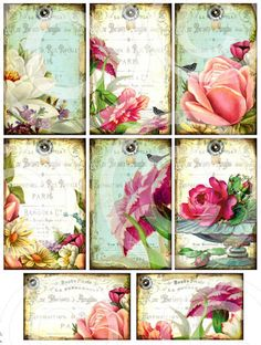GaRDeN PaRTY DiGITAL Collage Sheet download SeT of 8 aged stained Floral Design antique vintage paper craft supplies $4.29    A Set of 8 unique designs that will be sent normally within 24 hours of purchase in the form of a 300 dpi jpeg file. File is sized to print at 8.5 x 11 inches but you can easily reduce print size if in need of smaller tags. Larger tags measure 4 x 2.5 inches.