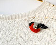 Felt Bird Brooch Bullfinch / felt pin / red black by TaniaFelt