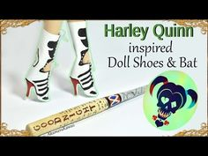 DIY Barbie / Doll Harley Quinn inspired shoes / boots & bat - YouTube