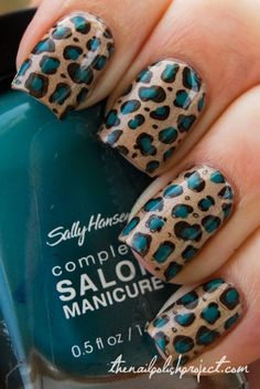 China Glaze FYI & Konad plate M57.  Fill in the dots with Sally Hansen Complete Manicure in Fairy Teal (beware it stains your dotting tool).
