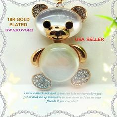 FROM USA Adorible! (ONLY1 Available) 18k Yellow Gold Plated Swarovski Austrailian Crystals w/ 2 Large MoonStones  KeyChain Key Chain / Ring In The Form of a  Cute Teddy Bear Orniment Charm Pendant Gift Jewelry Retail Value 100.00Gift Jewelry . Starting at $1