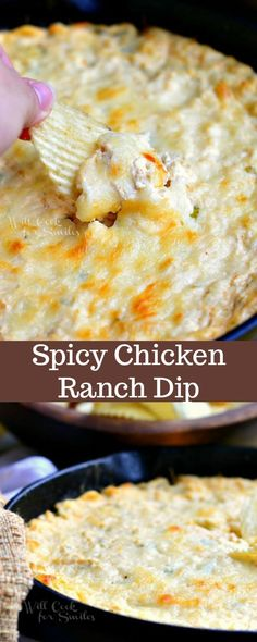 Dip Recipes 273171533634272515 - This Spicy Chicken Ranch Dip recipe is baked in a skillet and packed with juicy chicken, cheese, green onions, cream cheeses, and Hidden Valley Spicy Ranch mix. Source by plainchicken Chicken Ranch Dip Recipe, Ranch Recipe, Cream Cheese Chicken Dip, Dips With Chicken, Chicken And Cheese Recipes, Cheese Dip Recipes, Yummy Appetizers, Appetizer Recipes, Snack Recipes