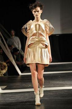 Sculptural Fashion - dress with symmetrical skeletal structure & 3D silhouette - creative cuts; wearable art // Vilsbol de Arce FW10