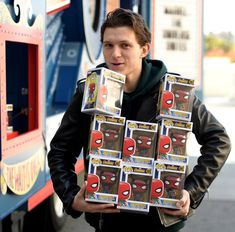 Me walking out of a store that has Spiderman Homecoming merchandise
