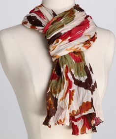 Cream & Red Floral Scarf by Bruges