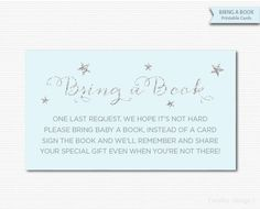 Bring a Book Cards Bring a Book Tickets Baby by MarleyDesign