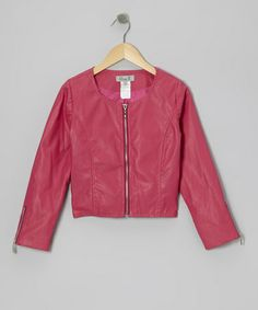 Take a look at this Pink Faux Leather Jacket by Elisa B. on #zulily today!