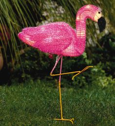 sarah m style diy standing glitter flamingo using a lawn ornament