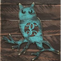 aMonogramArtUnlimited Owl Rustic Single Letter Wooden Shape Wall Décor Letter: $