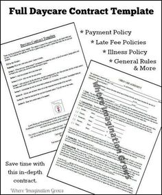 full complete daycare handbookcontract template