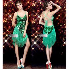 Green Bling Backless Flapper Short Mini Cocktail Ballroom Dancing Dress SKU-401227