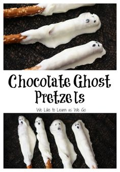 Here's a fun chocolate ghost pretzel treat that your kids will love and can even help you make! | www.weliketolearnaswego.com