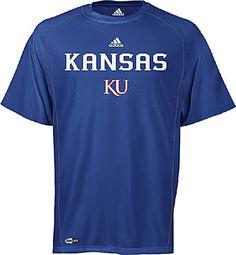 new product 1ee59 f72b5 Kansas Jayhawks Adidas Blue Climalite Sidelines Shirt