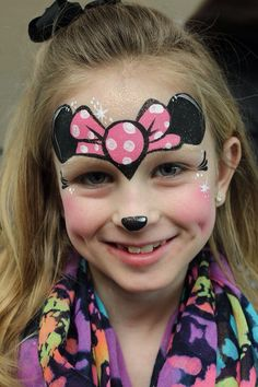 Minnie Mouse - Cartoon by Jody Rife Minnie Mouse Face Painting, Disney Face Painting, Christmas Face Painting, Girl Face Painting, Face Painting Designs, Painting For Kids, Body Painting, Maquillage Halloween, Halloween Makeup