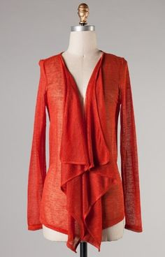 Rust Long Sleeve Lace Back Cardigan