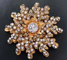 Vintage Miriam Haskell Rose Monteé Crystal Rhinestone Flower Brooch 337U | eBay