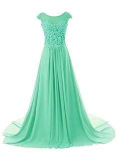 Cap Sleeve A-line Chiffon Lace Evening Dress Prom Gown Long Emerald Green dress