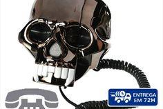 Telefone Caveira Negra - Descontos Lifecooler