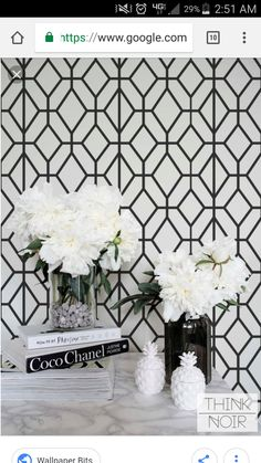 Black and White Geometric Wallpaper, Geometric Pattern Removable Wallpaper, Minimalistic Wall Mural Accent Walls In Living Room, Black And White Wallpaper, Black White And Grey Living Room, Home Wallpaper, Bedroom Wallpaper, Wallpaper Ideas, Accent Wallpaper, Geometric Wallpaper Kitchen, Vanities
