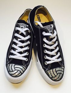 Low Top Volleyball Blinged Converse Shoes. Women's by TrickedKicks