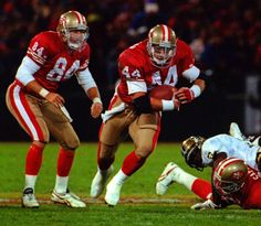 Tom Rathman ( and Brent Jones ( 49ers Players, Nfl Football Players, Nfl Playoffs, American Football Players, Football Helmets, San Francisco Football Team, San Francisco 49ers, Nfl Playoff Picture, 49ers Nation
