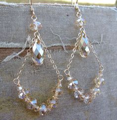 Charlotte Collection Swarovski Chandelier Earrings by Courtney Lee Designs-Golden Shadow-14k Gold Fill