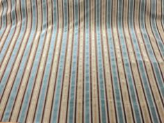 FR Luxury Stripe Duckegg Brown Chenille Velvet Upholstery Fabric Roll 20 Metres.