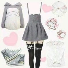 dress anime totoro cute lovely lolita kawaii cardigan blouse shoes leggings tights jacket Yes Yes Yes Pleez Harajuku Fashion, Kawaii Fashion, Lolita Fashion, Cute Fashion, Fashion Outfits, Fashion Styles, Fashion Women, Anime Inspired Outfits, Anime Outfits