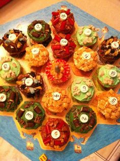 Settlers of Catan cupcakes - OMG YES!!! next game night, this is a must!