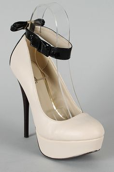 Neutral-211 Bow Ankle Strap Platform Pump. I have to have these! #BOMB