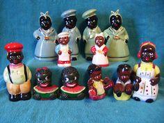 Vintage Salt Pepper Shakers Lot of 6 Black Americana Mammy Watermelon Babies | eBay