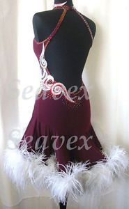 K3077-Feather-fur-Ballroom-lady-latin-salsa-chacha-samba-rumba-dance-dress-UK-12