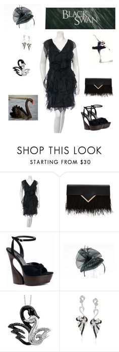 """Black swan"" by sandibiggerstaff ❤ liked on Polyvore featuring Notte by Marchesa, Pleaser Day & Night, Target, Ross-Simons and Black Swan"