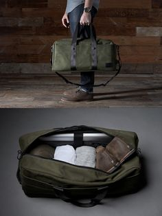 Weekend Bag Which should fit the following: a cotton blazer, jeans, khaki shorts, swim trunks, two T-shirts, a button-down, flip-flops, white sneakers, a leather belt, two pairs underwear, two pairs socks, one Dopp kit (as dictated by Esquire's Big Black Book 2010).