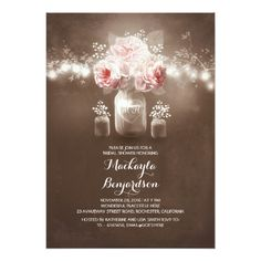 rustic mason jar barn lights bridal shower card