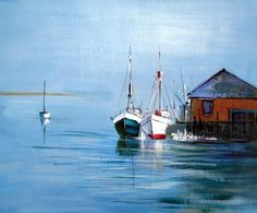 Wall Art finished in USA History: Sunny Seaport is a hand finished canvas oil painting. Bathed in sunshine and safely docked, the sea-faring vessels in this sea