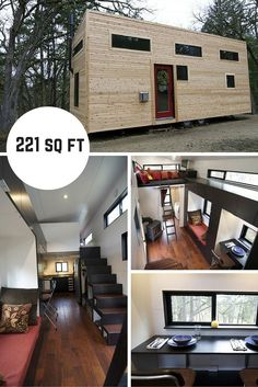 hOMe is a 221 sq ft home designed by Andrew and Gabriella Morrison os Ashland, Oregon. Small Tiny House, Modern Tiny House, Tiny House Living, Small Living, Small Mansions, Earthship Home, Tiny House Trailer, Small Places, House Layouts