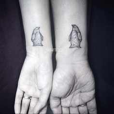 Couple Wrist Geometric Penguins Tattoos