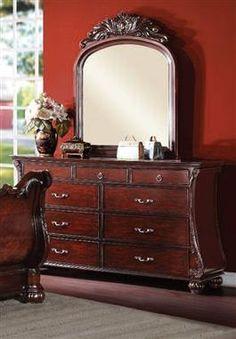 ABRAMSON Brown Wood Glass Dresser