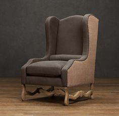 recover my Granny's wing back recliner like this: with charcoal linen and burlap on the sides.  Os De Mouton Wing Chair   Chairs   Restoration Hardware
