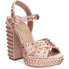 Aldo Britain Two-Piece Platform Block-Heel Sandals ($100) ❤ liked on Polyvore featuring shoes, sandals, heels, light pink, platform heel sandals, toe strap sandals, studded platform sandals, platform sandals and block heel sandals
