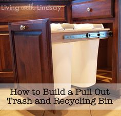 Cheap Decorating Ideas: It's very convenient to have pull-out recycling and trash bins in the kitchen. However, the pre-fabricated options can be quite expensive. This DIY project cuts that cost in half. Pull-Out Trash Recycling Bins Tutorial Trash And Recycling Bin, Trash Bins, Recycling Center, Recycling Station, Sweet Home, Do It Yourself Inspiration, Diy Home Improvement, Diy Kitchen, Kitchen Cabinets