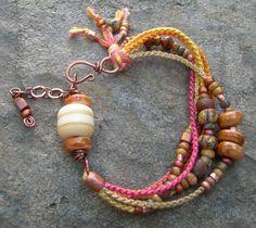 Boho Pinks and Golds beadwork bracelet, by BlueQuailDesign; $45.00   #handmade #jewelry