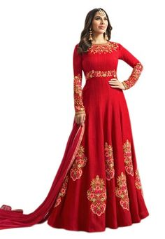 25459b691a1 Red Art Silk Party Wear Anarkali Suit