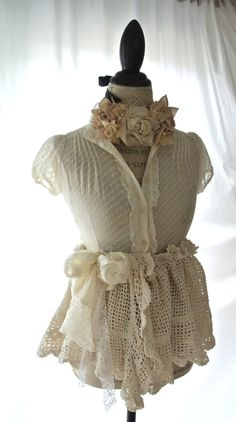 SALE Spring lace shirt, ecru, cottage chic, romantic country chic clothing, Altered couture, lace, crochet, gypsy cowgirl, true rebel cloth. $51.20, via Etsy.