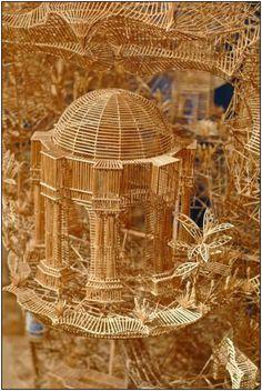 Amazing toothpick models. Kinda looks like a birdcage although it isn't.